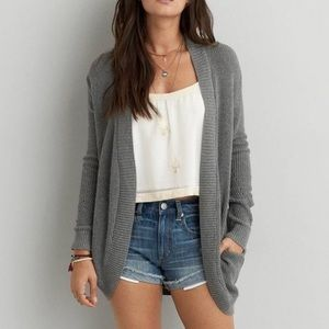 NWT American Eagle Grey Open Front Cocoon Cardigan